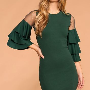 Enchanted Hunter Green Ruffle Sleeve Dress