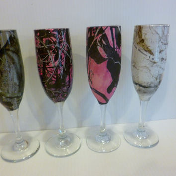 Shabby chic camo champagne glasses hydrodipped in various patterns