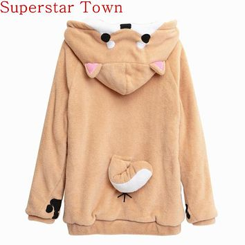 Womens Harajuku Japanese Kawaii Hoodies Sweatshirts With Ears Cute Dog