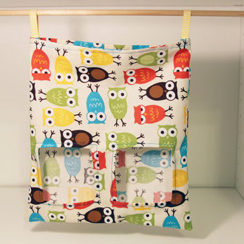 Bunny Hay Feeding Sack, Rabbit Cloth Feeder, Guinea PIg Feed Bag - Multicolour Owls