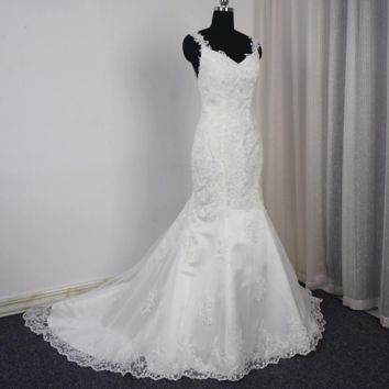 Lace Mermaid Wedding Dress Backless Appliqued Unique Bridal Gown