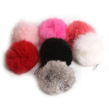 ONETOW Hot Cute Genuine Soft Rabbit Fur Ball Handbag Key Chain Cell Phone Car Pendant = 1932890948