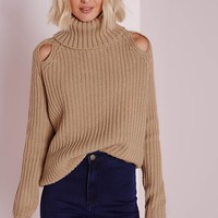 Missguided - Peep Hole Chunky Jumper Camel