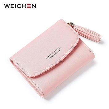 WEICHEN Brand Designer 2017 Tassel Women's Wallet Card Holder Coin Purse Soft Slim Small Wallets for Lady Girl Female Carteira