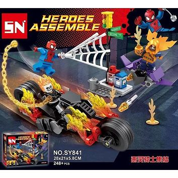 SY841 Spider-Man Ghost Rider Team-UP Motorcycle Hobgoblin Super Heroes AVENGERS Assemble actionFiguras Building Blocks Kids Toys
