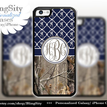 Monogram Iphone 5C case 5S Browning iPhone 4 case Ipod 4 5 case Real Tree Camo Navy Quatrefoil Personalized Country Girl