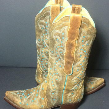 OLD GRINGO Celeste Brown And Turquoise Leather Western Cowgirl Cowboy Boots Women's Size 6