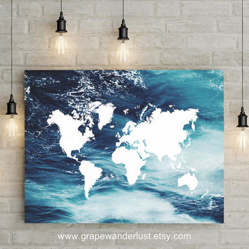 World map,  Ocean decor, Ocean print, world map art, ocean art, Travel map, world map wall art, Ocean map, world map poster, world map print