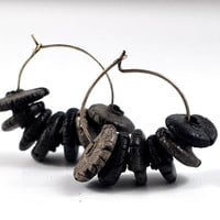 Handmade Boho Ceramic Hoop Earrings Organic Smoky Black Jewellery on Antique Copper Hoops in Handcrafted Jewelry Pouch by Dawn Whitehand
