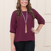 Bow Back Blouse - Burgundy