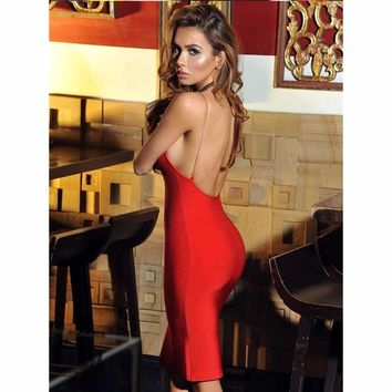 Bring The Heat Red Open Back Bandage Dress