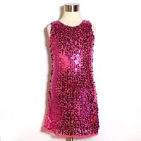 Fully Lined Lace Trim Sequin Sparkly Dance Dress in Dark Pink - Sizes 2 to 10 years from smilekids