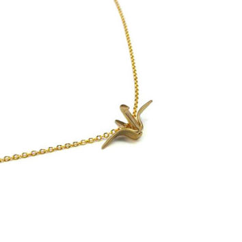 Gold Origami Crane Necklace, Gold plated Japanese Origami Bird Necklace, Animal Jewelry, Everyday Minimalist Jewelry
