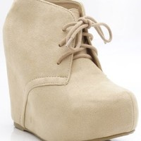Soda Pager Lace Up Platform Wedge Bootie