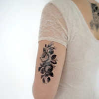 Large Temporary Tattoo - Floral, Black, Flower, Rose, Vintage, Wildflower, Summer, Beach