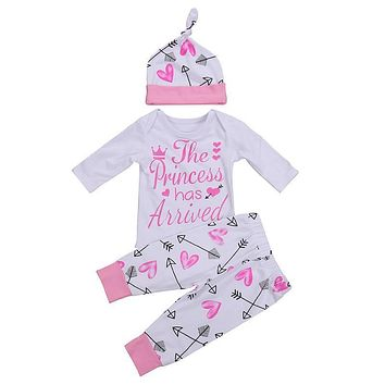 3PCS Set Newborn Clothes The Princess Has Arrived Baby Girl Long Sleeve Bodysuit Tops+Pant Legging Hat Outfit Kid Clothing 0-24M