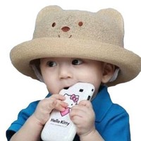 LOCOMO Baby Infant Boy Girl Cute Bear Animal Floppy Brim Hat Cap FBA010BRN Brown