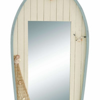 Benzara Ocean Harbor Row Boat Mirror Decor With Fishing Net