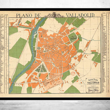Old Map of Valladolid City 1906 Spain