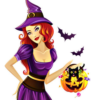 Witch Image, Halloween Witch Image, Sexy Witch Image,Large Teen Witch, Transparent Cutout, Wall Décor, Teen Room,Teen Décor, Home Décor