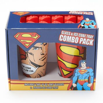 ICUP Superman Pint Glasses & Ice Cube Tray Set