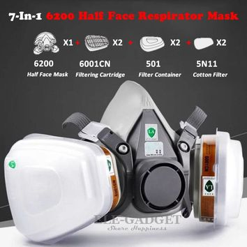 High Quality Industrial 7-In-1 6200 Half Face Mask Gas Respirator Filter For Painting Spraying Work Safety Masks