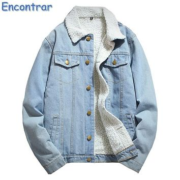 Encontrar Winter Denim Jacket Men Turn-down Collar Fleece Jeans Jackets Mens Long Sleeve Slim Fit Blue Faux Fur Coat ,QA369