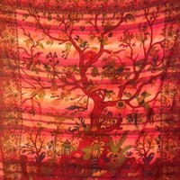 Tree of Life Tapestry Lines Reds  - Mellow Mood