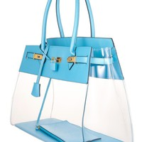 Designer Blue Beach Tote Bag