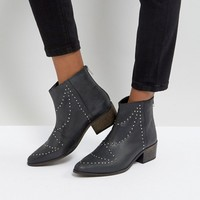 DEPP Leather Studded Western Boots at asos.com