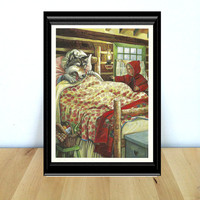 Little Red Riding Hood & The Wolf, Fairy Tale Themed Kids Decor Print (1990s} Vintage Book Page