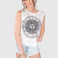 We Live By The Sun + Moon Top - White