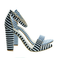 Frenzy20 By Bamboo, Retro Pinstrpe Chunky Block Heel Sandal, Open Toe Party Shoes