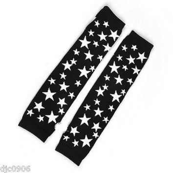 Unisex Black White Stars Elastic Fingerless Arm Warmers Elbow Long Gloves-New!