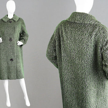 Vintage 50s Cocoon Coat HARELLA 50s Swing Coat Green Wool Coat Fuzzy Coat Big Button Coat Fall Winter Coat Mad Men Coat Loose Fitting 1950s