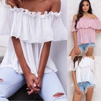 Women's Off Shoulder Tops Long Sleeve Shirt Casual Blouse