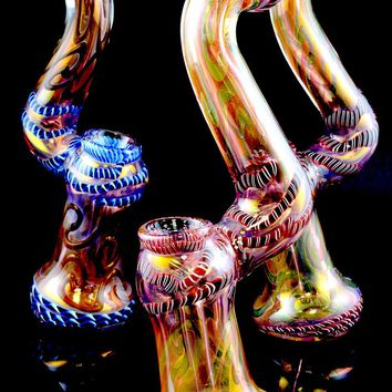 Large Color Changing Gold Fumed Striped Sherlock Glass Bubbler - B898