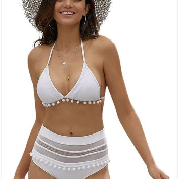 Bikini new tassel ladies swimwear high waist split swimsuit white