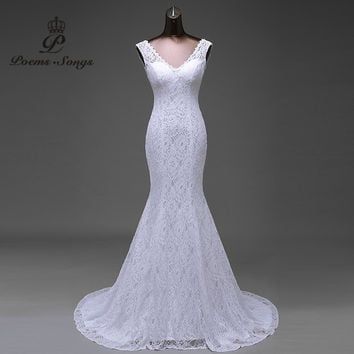 Free shipping  lustrous satin and lace flowers  very Sexy  Backless mermaid  Wedding Dresses vestidos de noiva robe de mariage