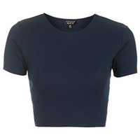 Wide Cotton Ribbed Crop Tee - Navy Blue
