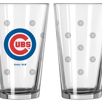 Chicago Cubs Satin Etch Pint Glass Set