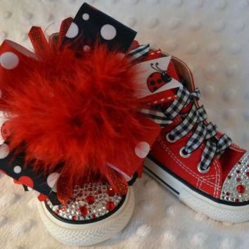 DCKL9 Red polka dot ladybug BLING PRINCESS Converse - baby/toddler/girl shoes