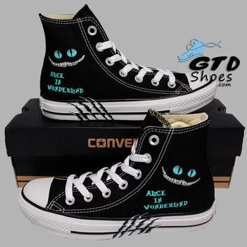 Hand Painted Converse Hi. Alice in wonderland, Cheshire cat. Handpainted shoes.