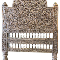 Antique Indian Headboard Wood Bed Frame Jaipur Beautiful Floral Carved Home Decor Idea