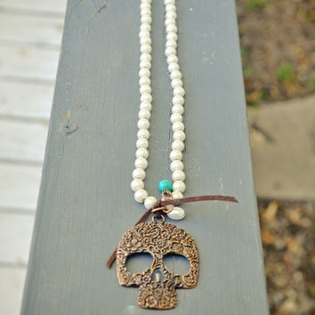 Skull Necklace on Pearls