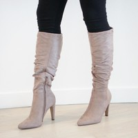 Slouchy Pointed Knee High Boot