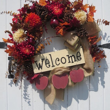 Country Fall Wreath, Fall Door Wreath, Fall Front Door Wreath, Pinecone Wreath, Apple Wreath, Burlap Bow, Hand painted Welcome Sign , Apples