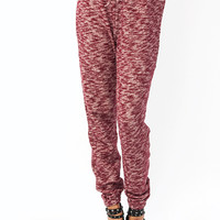 Snowed-In-Drawstring-Sweater-Pants NAVY RED - GoJane.com