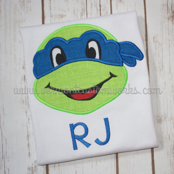 Embroidered Teenage Mutant Ninja Turtle Shirt, with or without name-mask and name can be any color. Message for Custom Order.