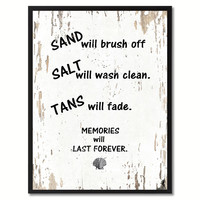 Sand Salt Tans Memories Will Last Forever Saying Canvas Print, Black Picture Frame Home Decor Wall Art Gifts